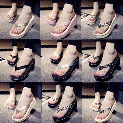 High heeled flip flops, Korean summer fashion, thick bottom slope with cool drag beach beach shoes, anti-skid feet slippers, female tide
