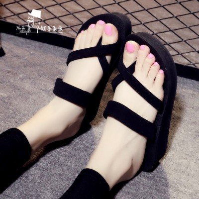 Zhuo shini thick with sandals  new summer female Korean students high heels all-match word buckle shoes Rome