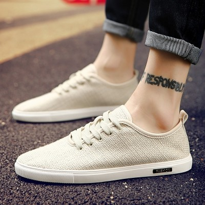 Summer breathable canvas shoes men shoes casual shoes trend of Korean male British all-match old Beijing shoes men