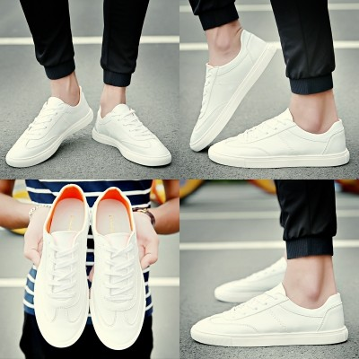 The  summer men's shoes shoes trend of Korean men's casual shoes spring all-match white canvas shoes