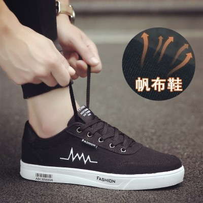 new summer men's canvas shoes breathable low help recreational shoe trend of Korean all-match shoes shoes