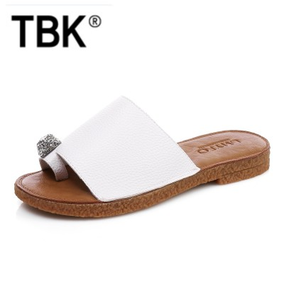 Summer new leather sandals sandals women wear soft slippers all-match with flat sandals female Korean Beach Leather Sandals