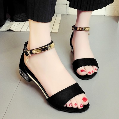 summer new Korean simple Toe Flat huarach with female buckle shoes female students all-match word