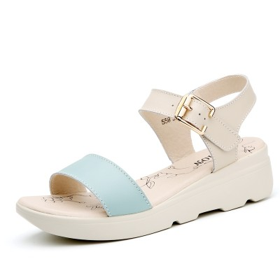 new summer all-match comfortable with thick soled sandals female Korean students summer flat with flat leather shoes