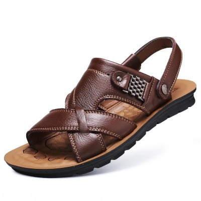 The old men's Slippers Size in summer men's sandals male leather sandals  leisure Dad