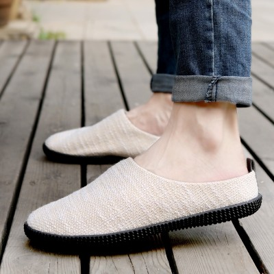 Summer men's shoes, linen slippers, men's casual men's sandals, Baotou lazy shoes, breathable Korean version, cool mop, half slippers