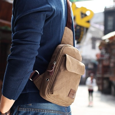 And men Yi chest pack Korean sports backpack Leisure Canvas Bag Purse Bag Satchel male students