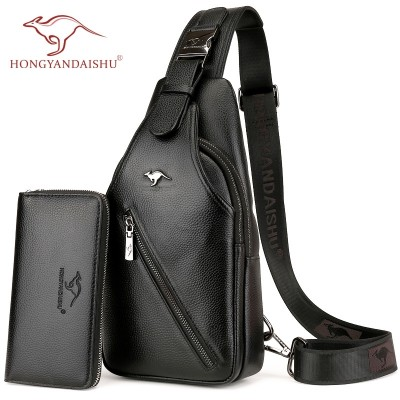 Hong rock kangaroo, leather chest bag, men's casual men, single shoulder oblique shoulder bag, head layer cowhide men's bag, Korean tide Backpack