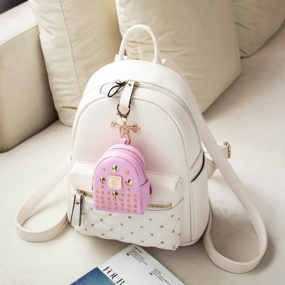 Backpack backpack Mini Korean female personality  new tide fashion leather bag all-match mummy bag