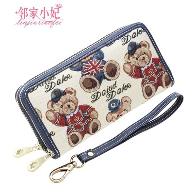 Next door lady, purse, female long, Korean version, cute teddy bear, double zipper, Europe and America with foreskin clamp