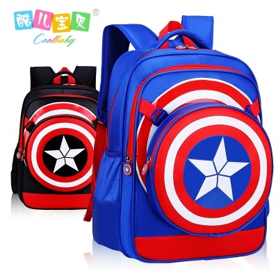 American captain, pupil bag, 6-12 years old, Korean boy backpack, children light burden, grade 1-3-4-6