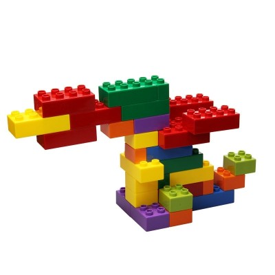 A large chunk of classic bricks and pieces of plastic is a child puzzle toy