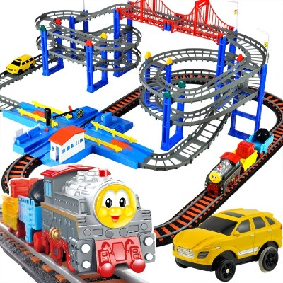 A toy electric roller coaster for children's toys on the train track