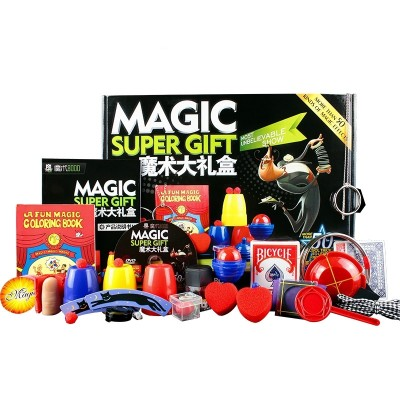 The magic 8, 000 magic item set of toy box and children's near view stage shows the gift package box