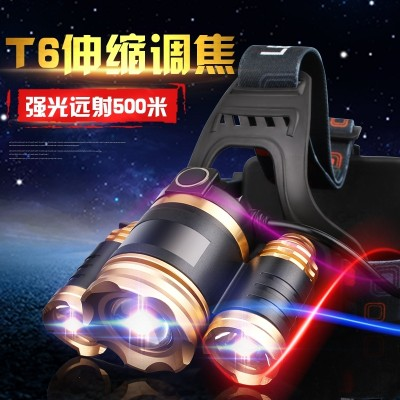 LED headlight, strong head, wearing type charging, super bright 3000 meter flashlight, outdoor long shot, 1500 hernia lamp