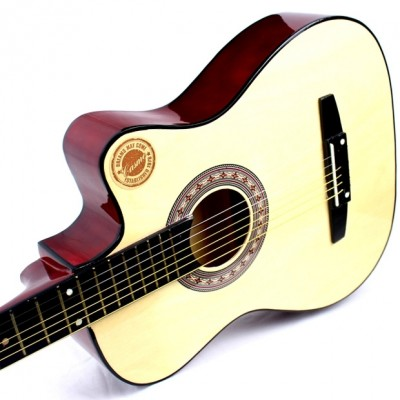 Kasmo, 38 inch guitar, folk guitar, wooden guitar, beginner's primer, practice guitar, student, male and female instrument