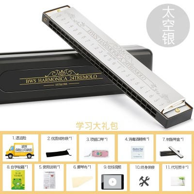 The 24 hole tremolo harmonica for beginners students practice BWS adult children harmonica tune the instrument for entry C