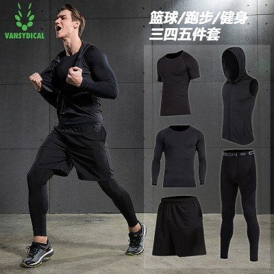 Fitness suit, men's suit, 345 piece set, sports short sleeve, speed dry clothes, basketball pants, tights, gym, running clothes