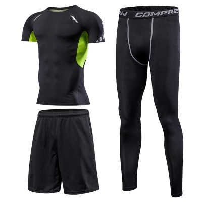 Fitness suit, men's suit, quick drying, short sleeved T-shirt, sports tights, basketball, running training clothes, summer three sets