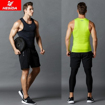 Fitness suits, men's sports vest, summer speed dry clothes, tights, shorts, gym, running training three sets