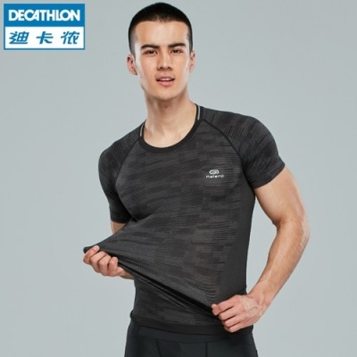 Decathlon men's athletic tights elastic breathable quick dry running short sleeved T-shirt jacket KALENJI fitness training
