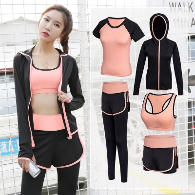 Sports suits, women's summer yoga clothes, vests, running, tight fitting, professional, thin, gym, quick drying, jacket, shorts, spring