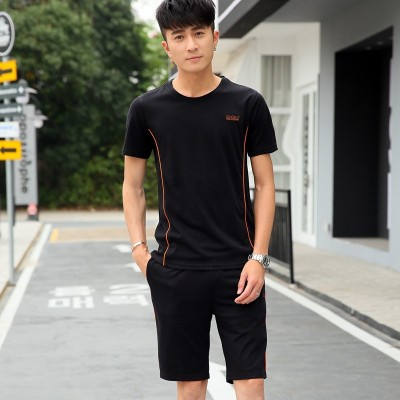 Men's sports suits, summer morning running clothes, sportswear, clothing, casual shorts, five shorts, two sets of fitness