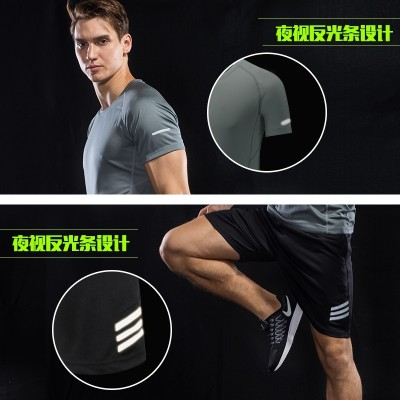Sports suit, men's summer running suit, short sleeve, five point shorts, speed dry T-shirts, summer sportswear, clothing