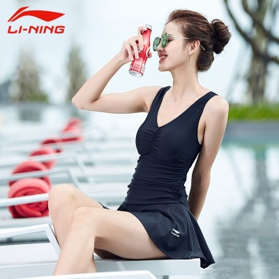 Lining female conservative swimwear Swimsuit Cover belly hot spring swimming dress type thin small chest movement angle gather