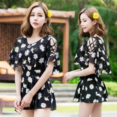 The female swimsuit Siamese skirt Swimsuit Size cover belly conservative South Korean boxer with sleeve spa small fragrant swimsuit