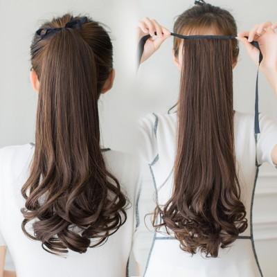 Female long hair wig ponytail bandage type long short pear wig piece fake ponytail in realistic big wave