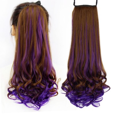 Long curly hair wig ponytail lady bandage type big wave highlights gradient realistic pear false ponytail
