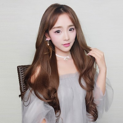Wigs, long hair, U, half head, fluffy face, round big wave long hair, Ms. Han realistic hair in the long hair