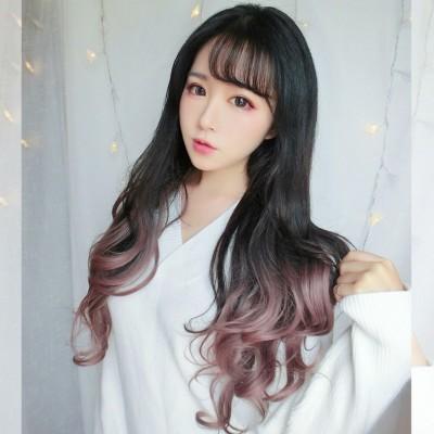 Female U type half wig headgear with long curly hair fluffy face no long hair waves repair scar in natural hair