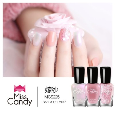 Miss Candy health refers to color nail polish set, non-toxic, stripping, tearing, lasting color nail 7ml*3
