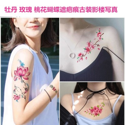 Big picture tattoo stick, lasting female peony, rose peach blossom, butterfly scar mask, photo album chest