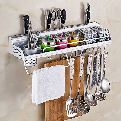 Dan Le perforation free kitchen shelf space aluminum kitchenware storage rack cutter frame hanging seasoning spatula