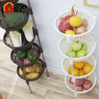 Plastic fruit and vegetable kitchen shelf storage basket floor storage appliances 3 multilayer basket shelf 4