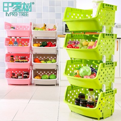 Kitchen vegetable shelf storage rack 4 layer multilayer floor supplies storage basket basket basket storage rack dish rack