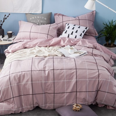 Simple cotton bedding, four sets of cotton, summer three suites, 1.8m double bed sheets, bedding bag, 1.5m bed