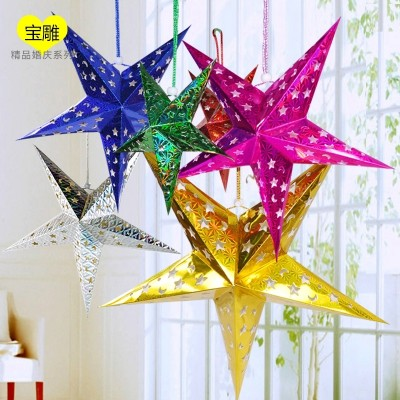 Festival decorations, stereo laser, five corners, stars, ceiling decorations, pendants, bars, shopping malls, wedding rooms, festival decorations
