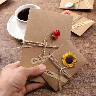 Creative birthday greeting cards, retro kraft paper, business greeting cards, Thanksgiving holiday cards, small cards