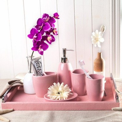 European style bathroom, five piece set of ceramic originality, simple wedding gift, bathroom product, tooth cup, gargle cup, wash suit