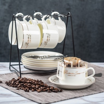 Four fusiform ceramic cup coffee cup set of creative simple home coffee cup 6 pieces dish tray