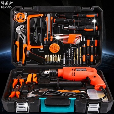 The komus hardware kit is a German home woodworking toolbox electrician repair kit with electric drill