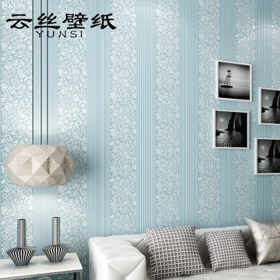Yunsilk modern simple bedroom 3d vertical striped non-woven wall paper, European TV set wall paper