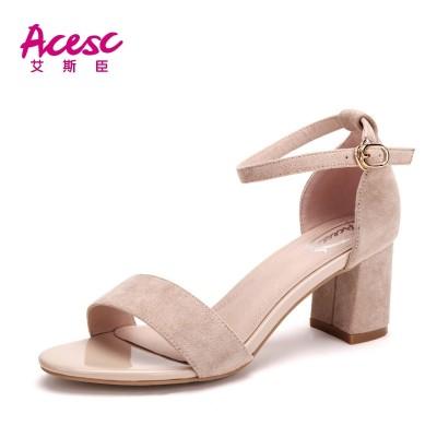 艾斯臣凉鞋女2017夏季新款休闲学生高跟鞋粗跟百搭一字扣女鞋韩版