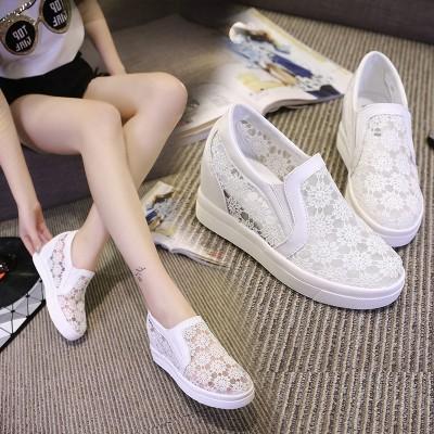 单鞋女透气内增高小白鞋一脚蹬网鞋女高跟板鞋春夏韩版运动休闲鞋