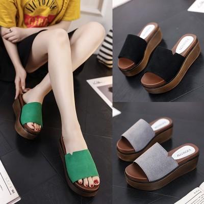 夏季韩版厚底坡跟拖鞋女士磨砂皮松糕底一字拖凉鞋增高凉拖鞋软底