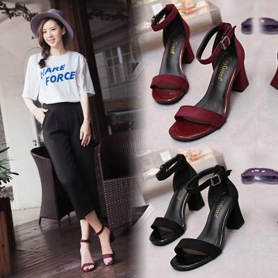 凯歌琳高跟鞋粗跟女夏2017新款韩版中跟鞋一字扣罗马百搭鱼嘴凉鞋